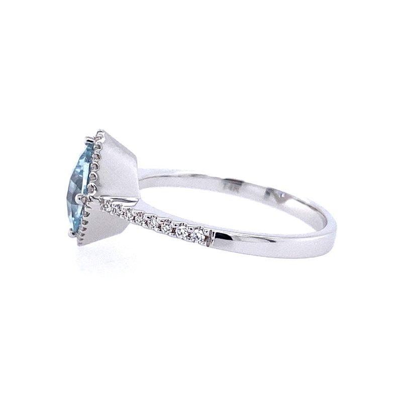 Allison Kaufman Aqua and Diamond Fashion Ring