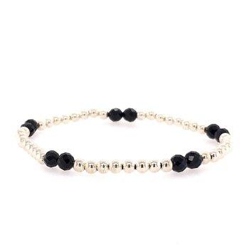 3mm Sterling Silver and Black Spinel Bead Pattern Bracelet