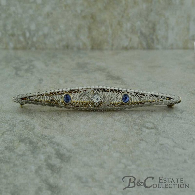B&C Estate Collection Sapphire and Diamond Brooch