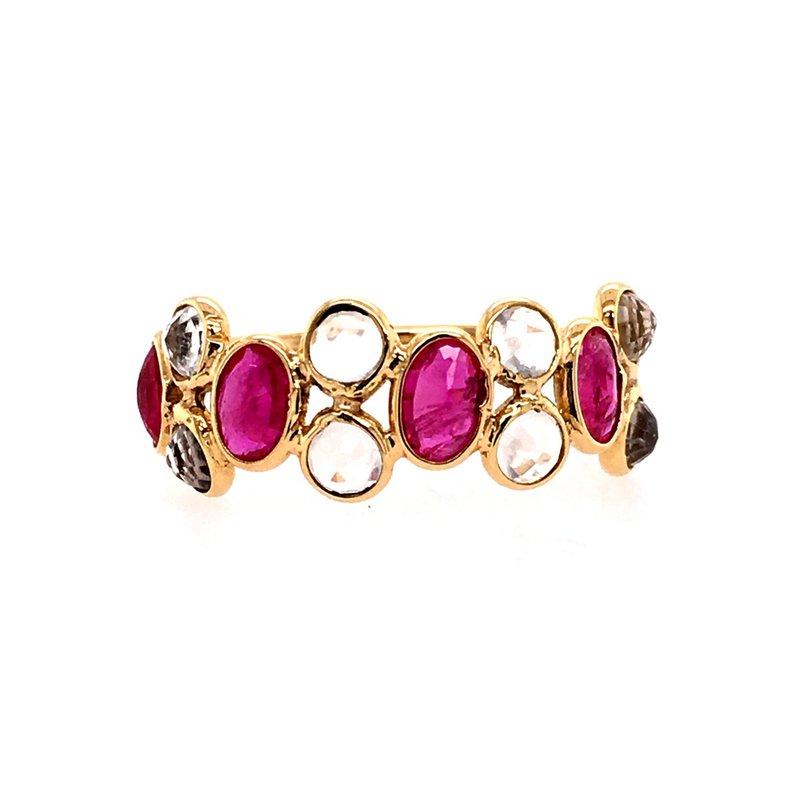 Tresor Rainbow Moonstone and Ruby Adjustable Ring