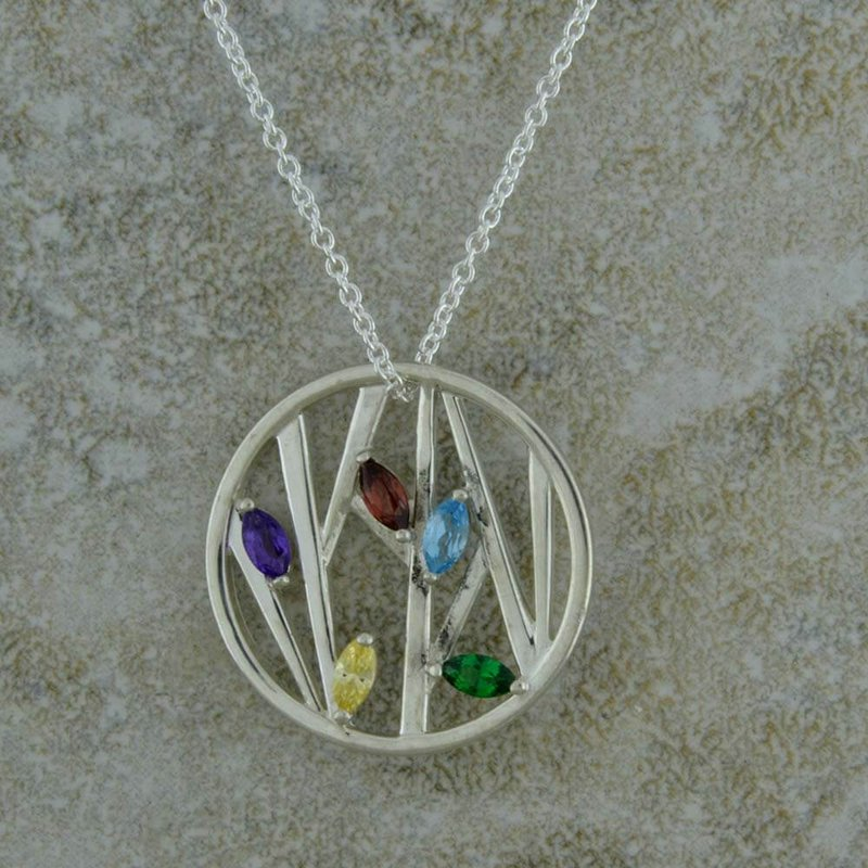 B&C Collections Five Stone Circle Mother's Necklace