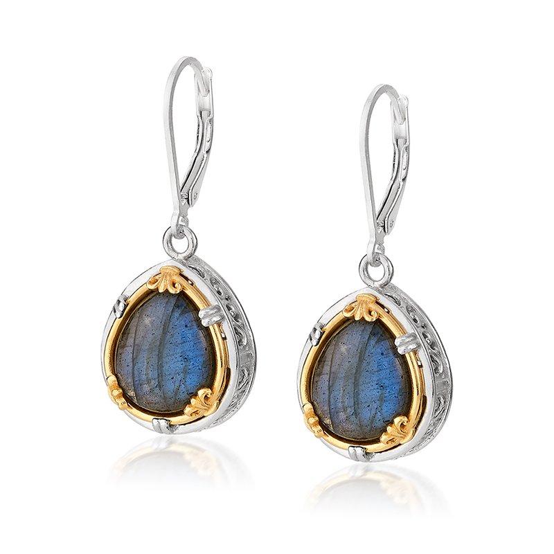 Anatoli Jewelry Sterling Silver and 18K Yellow Vermeil Labradorite Earrngs