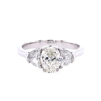 Oval & Half Moon Diamond Engagement Ring