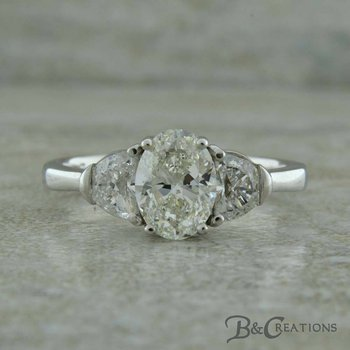 Oval & Half Moon Diamond Engagement Ring