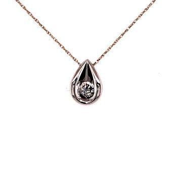 Diamond Solitaire Teardrop Pendant