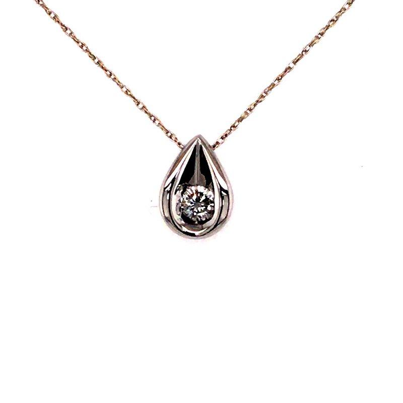 B&C Estate Collection Diamond Solitaire Teardrop Pendant
