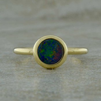 14K Yellow Gold Australian Opal Ring