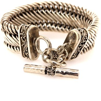 Sterling Silver Woven Toggle Bracelet