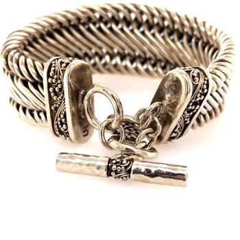 Sterling Silver Woven Toggle Bracelet