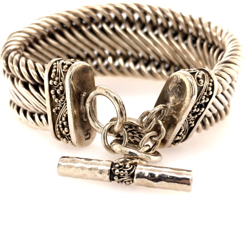B&C Estate Collection Sterling Silver Woven Toggle Bracelet