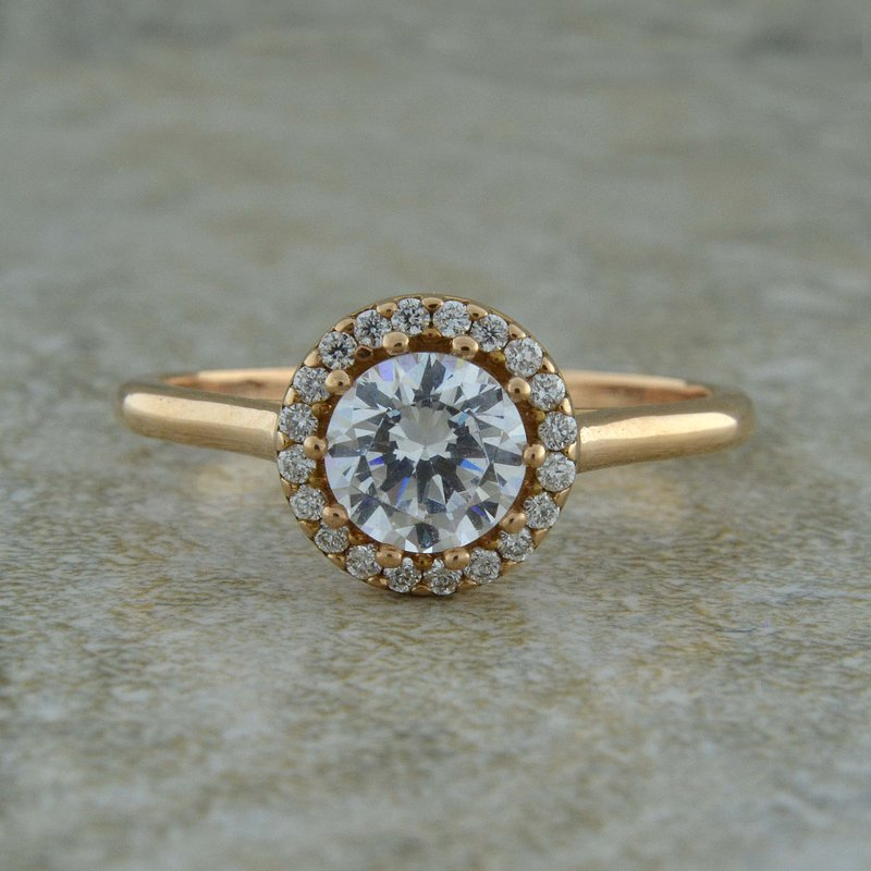 B&C Creations Rose Gold Halo Engagement Ring
