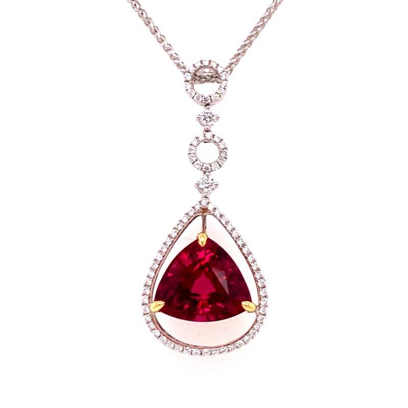 B&C Estate Collection Rubilite and Diamond Pendant