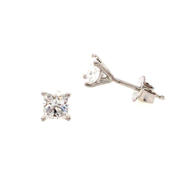 B&C Creations 14K White Princess Cut Diamond Stud Earrings
