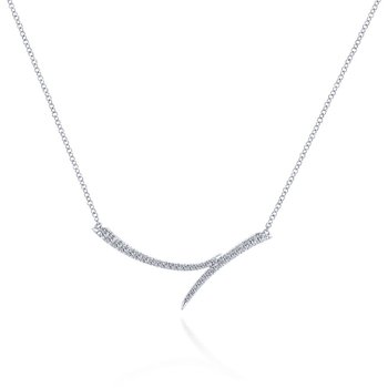Curved Diamond Bypass Necklace