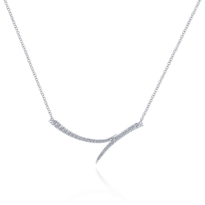 Gabriel & Co. -  IN-STORE COLLECTION Curved Diamond Bypass Necklace