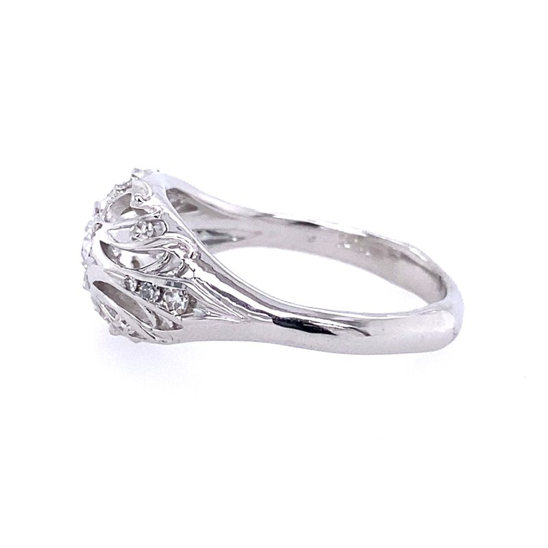 B&C Creations Pierced Nouveau Old European Diamond Ring