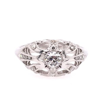Pierced Nouveau Old European Diamond Ring