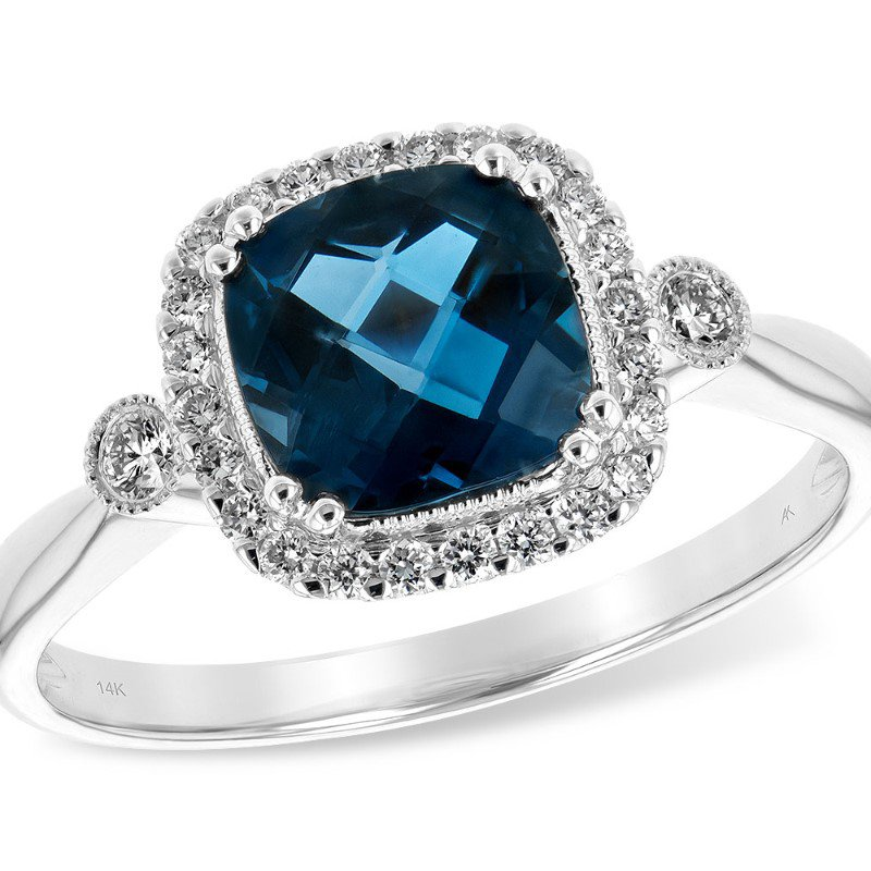 Allison Kaufman London Blue Topaz Halo Ring