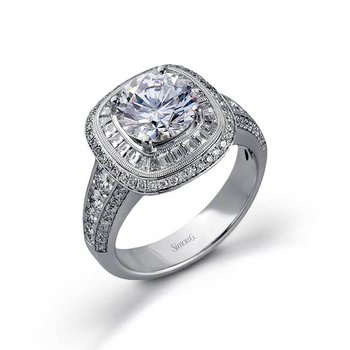 White Gold Diamond Baguette Halo Engagement Ring