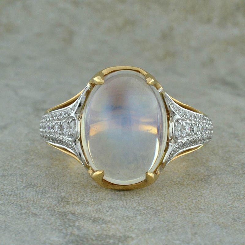 Spark Creations Moonstone & Diamond RIng