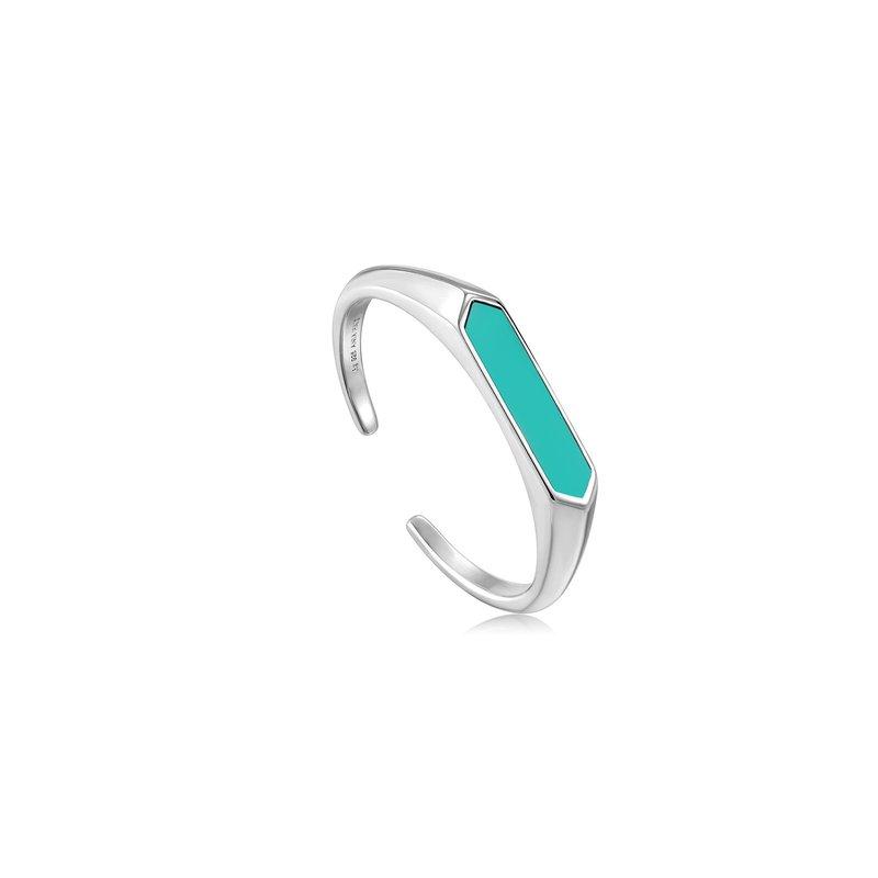 Ania Haie Teal Enamel Bar Adjustable Ring