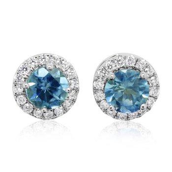 14K White Montana Sapphire Diamond Halo Studs