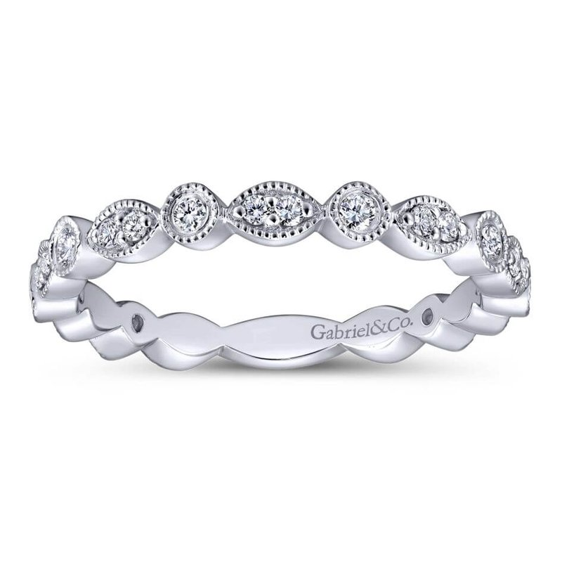 Gabriel & Co. -  IN-STORE COLLECTION 14K Marquis and Round Station Diamond Band