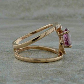 14K Rose Gold Lotus Garnet Ring