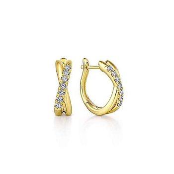 14k Yellow Gold & Diamond Hoops