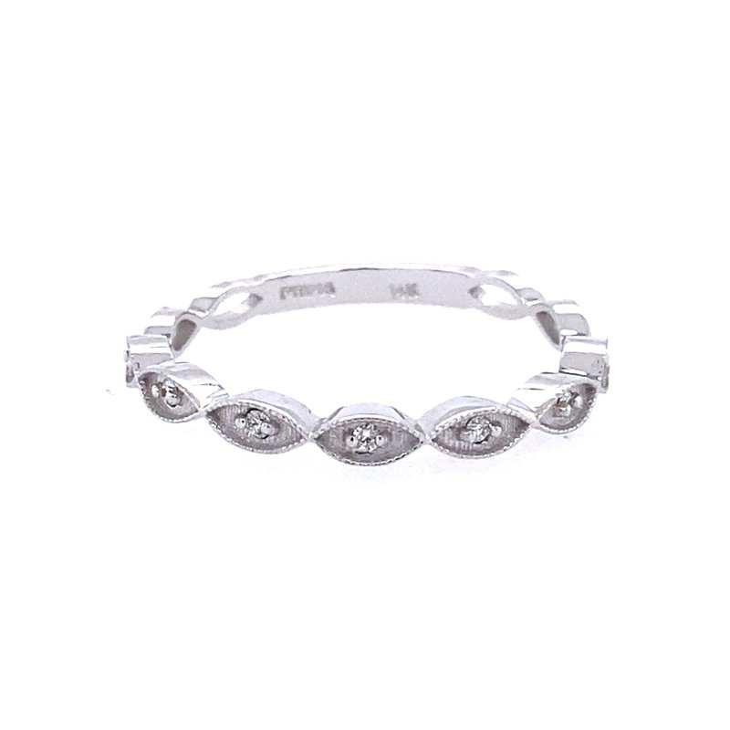B&C Collections White Gold Diamond Band Ring