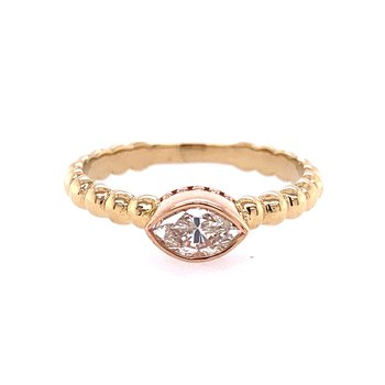 Two Tone Marquise Engagement Ring