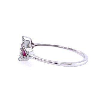 Zeghani 14K White Gold Ruby Ring with Diamonds