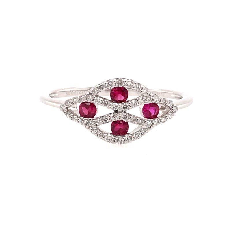 Zeghani Zeghani 14K White Gold Ruby Ring with Diamonds