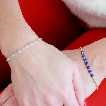 Sretch 2mm  Yellow Gold Filled and Lapis Disc Bracelet