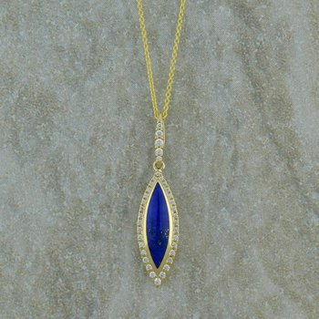 Lapis & Diamond Pendant