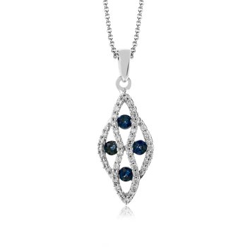 Zeghani 14K White Gold, Sapphire and Diamond Pendant
