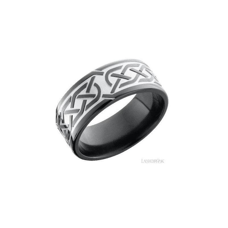 Lashbrook Designs Zirconium Band with Celtic Pattern
