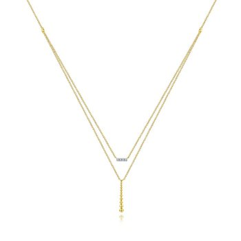 Diamond & Beaded Bar Necklace