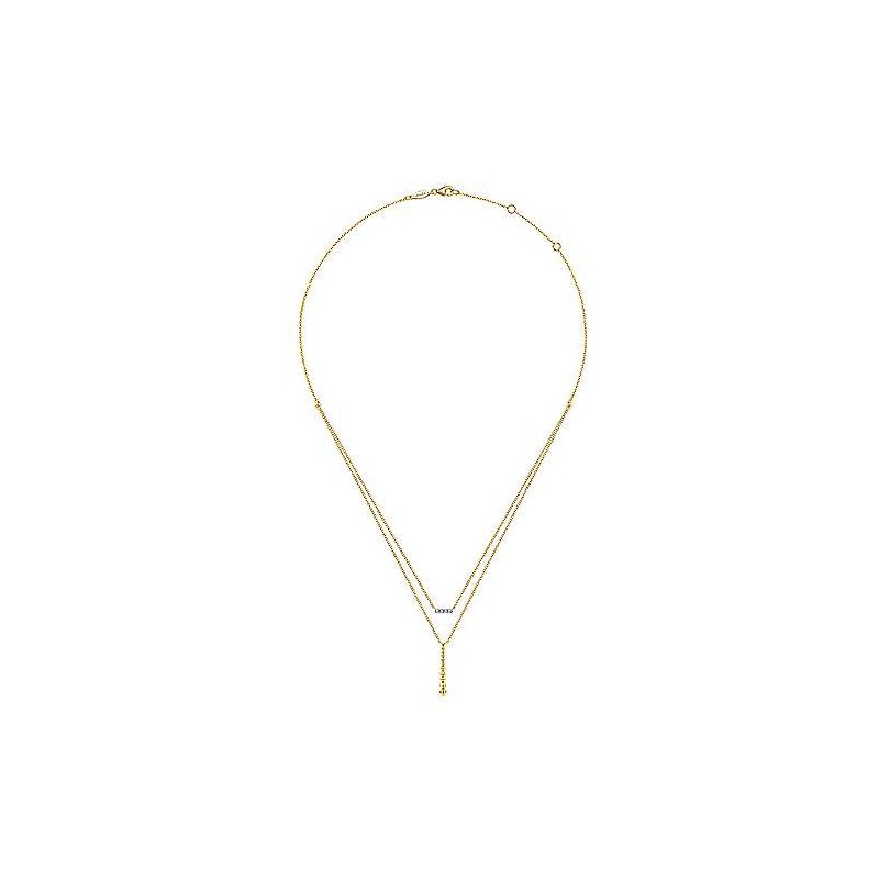 Gabriel & Co. -  IN-STORE COLLECTION Diamond & Beaded Bar Necklace
