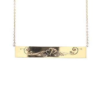 Entwined Heart Engraved Necklace