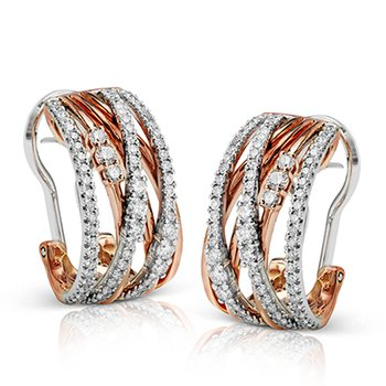 Rose and White Gold Diamond Hoop Earrings