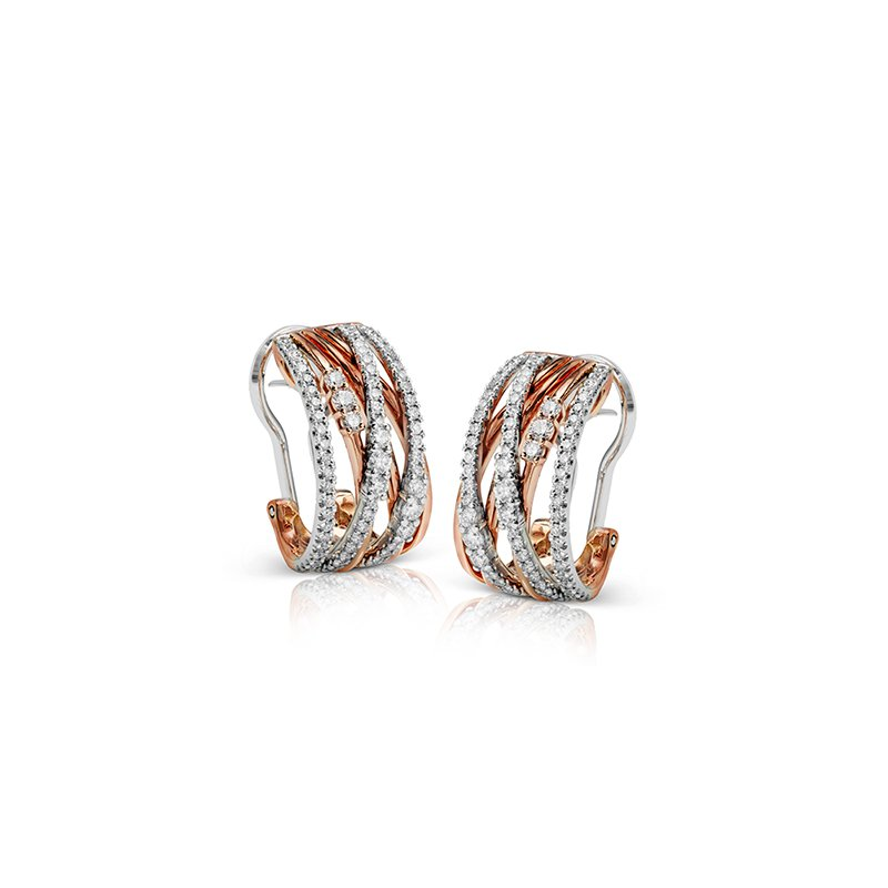 Simon G IN-STORE COLLECTION Rose and White Gold Diamond Hoop Earrings
