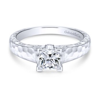 14K White Gold Hammered Engagement Ring