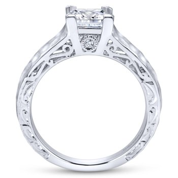 14K White Gold Hammered Engagement Ring