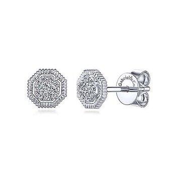 Octagonal Pave Diamond Studs