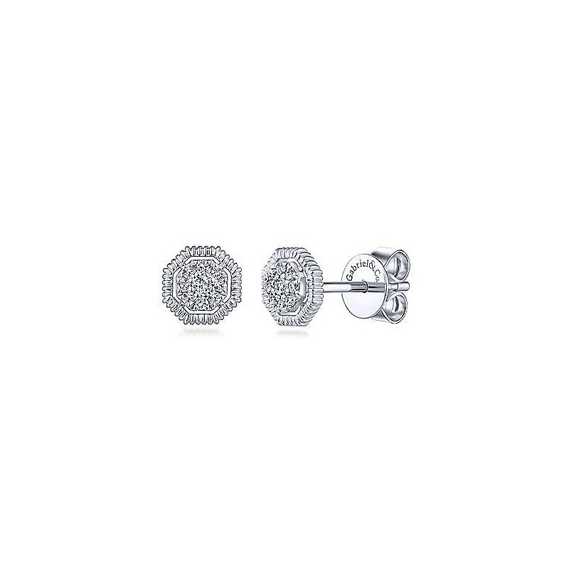Gabriel & Co. -  IN-STORE COLLECTION Octagonal Pave Diamond Studs
