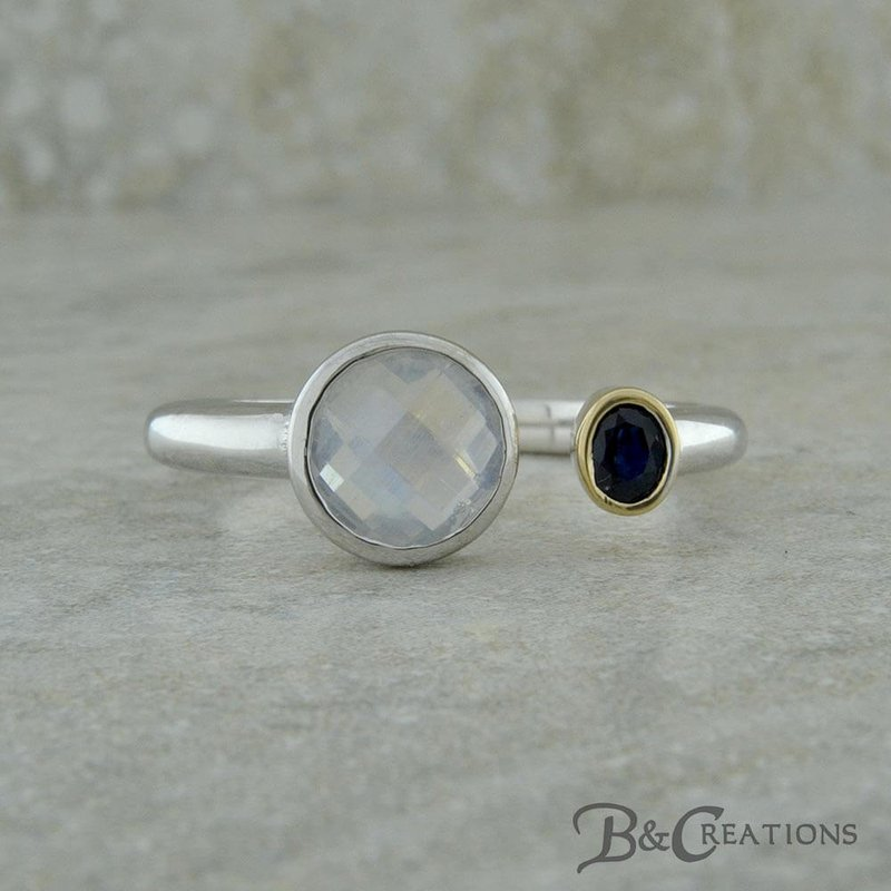 B&C Creations Moonstone and Sapphire Ring