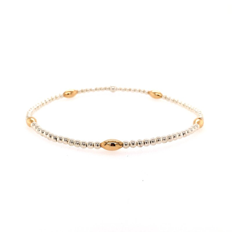 Karen Lazar Stretch 2mm Sterling Silver and Yellow Gold Filled Bead Bracelet