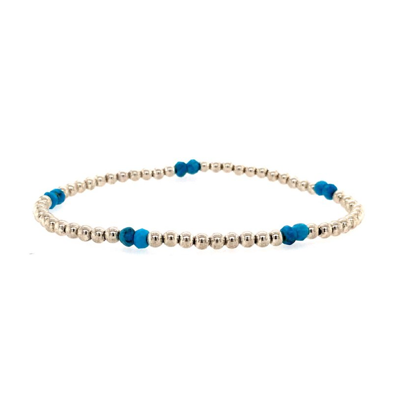 Karen Lazar Stretch 3mm Turquoise and Sterling Silver Bead Bracelet