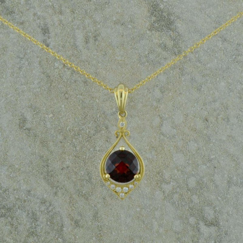 B&C Collections Garnet and Diamond 14K Yellow Gold Pendant